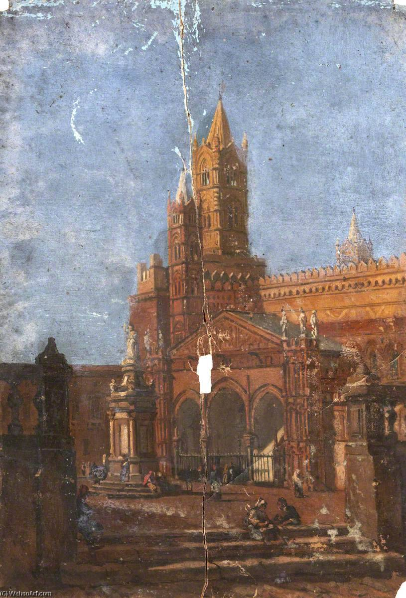 Order Oil Painting Architectural Study of a Piazza by Thomas Stuart Smith | WahooArt.com | Order Hand Painted Oil Painting Architectural Study of a Piazza by Thomas Stuart Smith | WahooArt.com