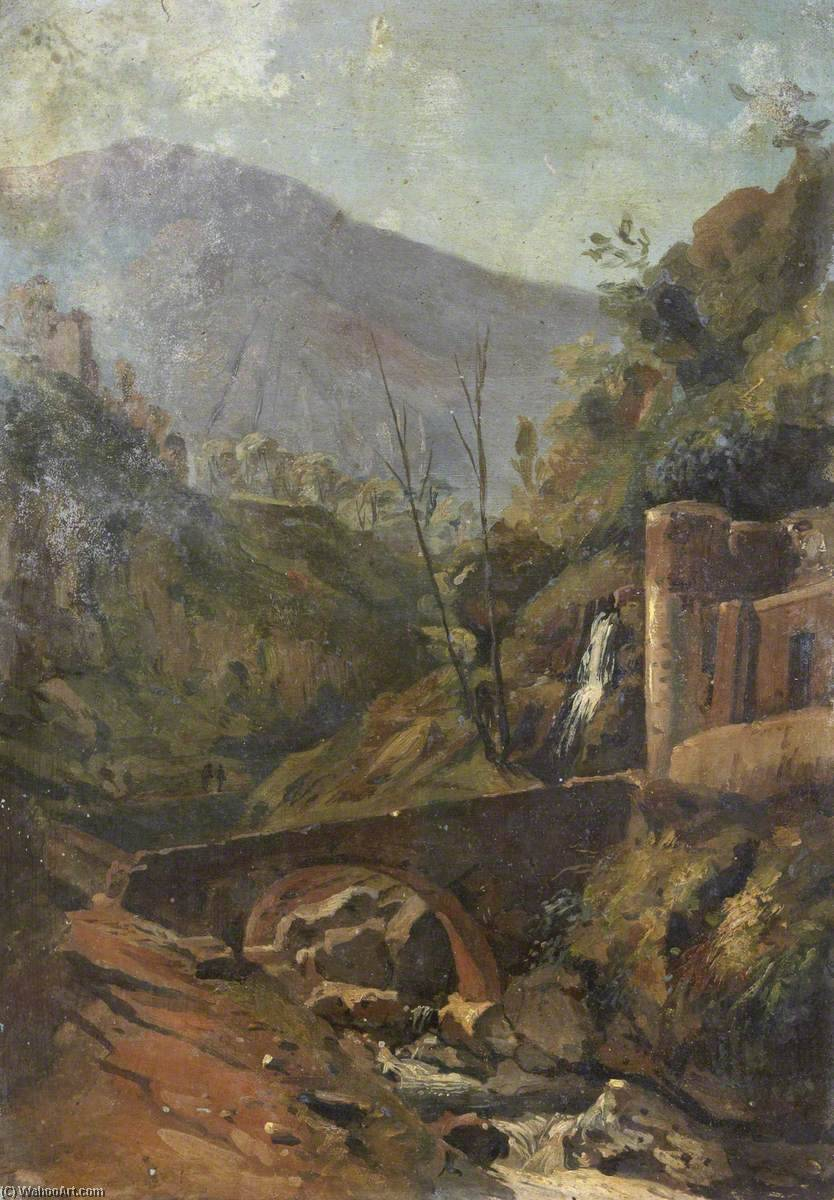 Landscape with a Bridge and a Town, Oil by Thomas Stuart Smith