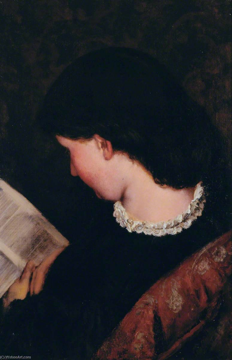 Study of a Girl Reading, Oil On Canvas by Thomas Stuart Smith