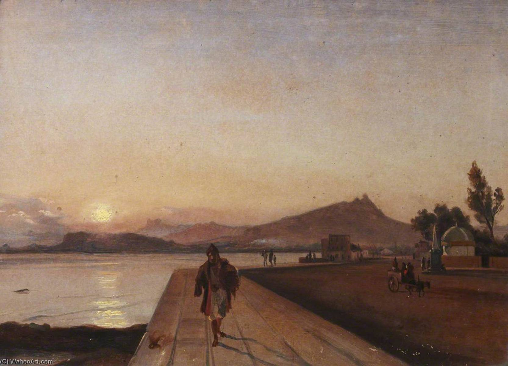 Sunset on the Calabrian Coast, Oil On Canvas by Thomas Stuart Smith