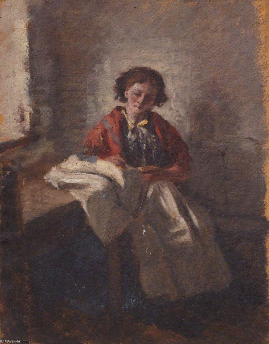 Girl at a Window, Oil by Thomas Stuart Smith