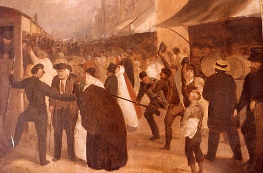Farewell to Civil War Soldiers at Railroad Station, (painting) by David Gilmour Blythe (1815-1865) | Art Reproduction | WahooArt.com