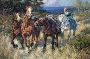 Rowland Wheelwright - Enid Driving the Robbers- Horses