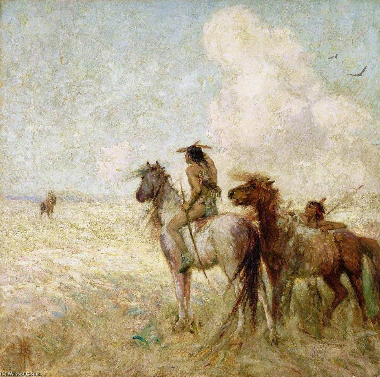 The Bison Hunters, Oil On Canvas by Nathaniel Hughes John Baird (1865-1936)