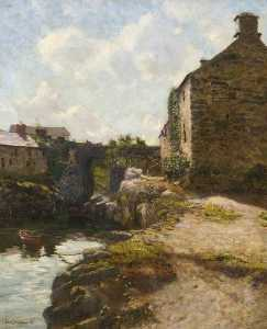 Fred Balshaw - Buildings by a Creek