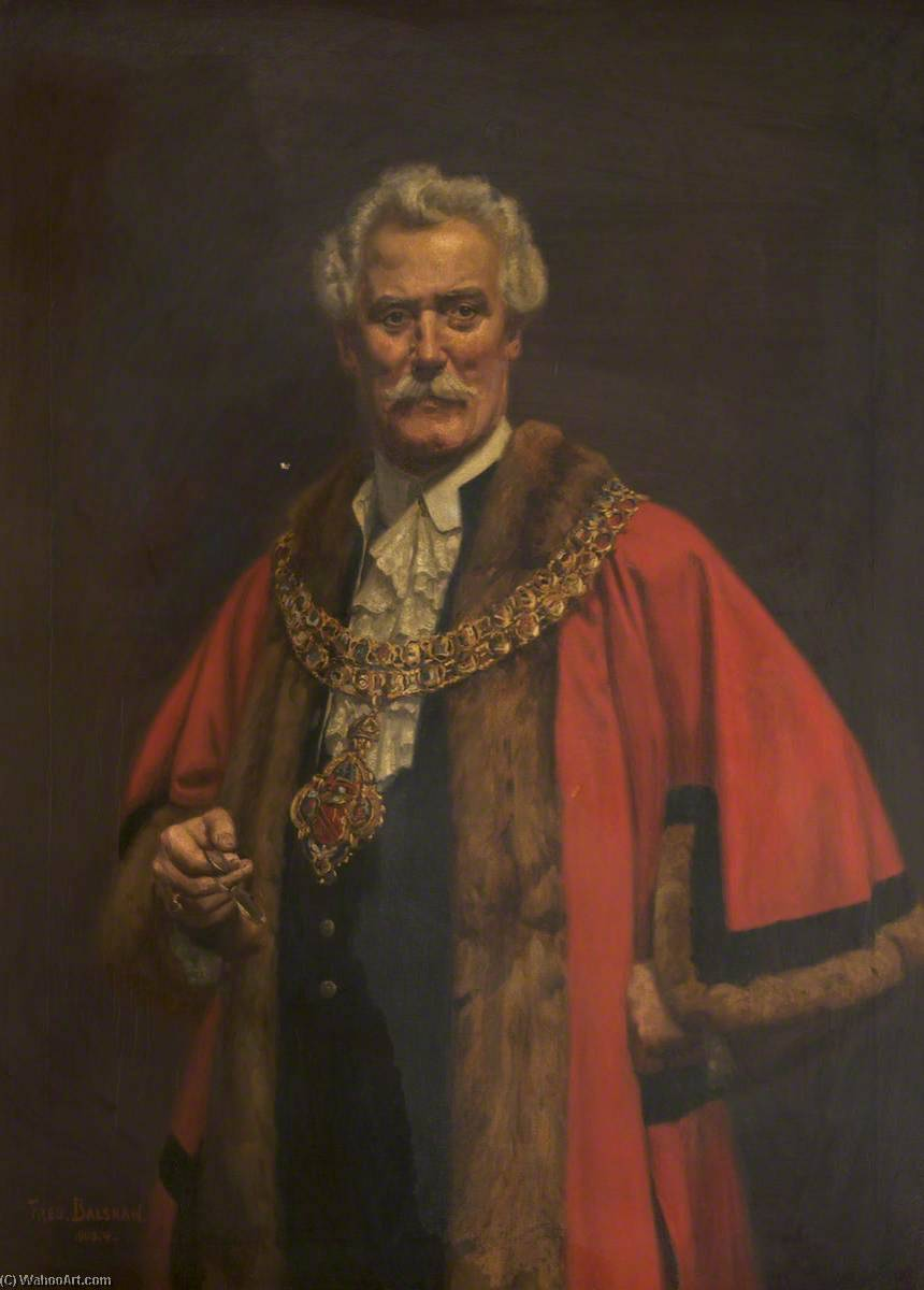 Alderman John Miles (1841–1917), Mayor of Bolton (1901–1902), Oil On Canvas by Fred Balshaw