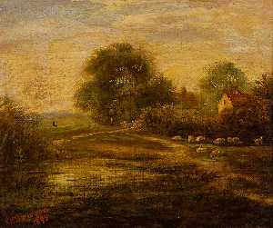 George Vemply Burwood - Landscape with Sheep