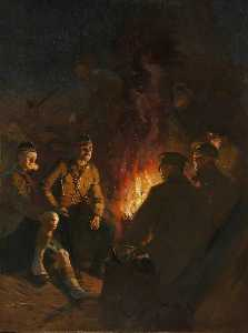 Fred Roe - Somewhere at the Front, Soldiers Around a Camp Fire at Night, Western Front
