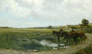 Landscape with Horses and Sheep, Oil On Canvas by Clement Lambert (order Fine Art Hand Painted Oil Painting Clement Lambert)