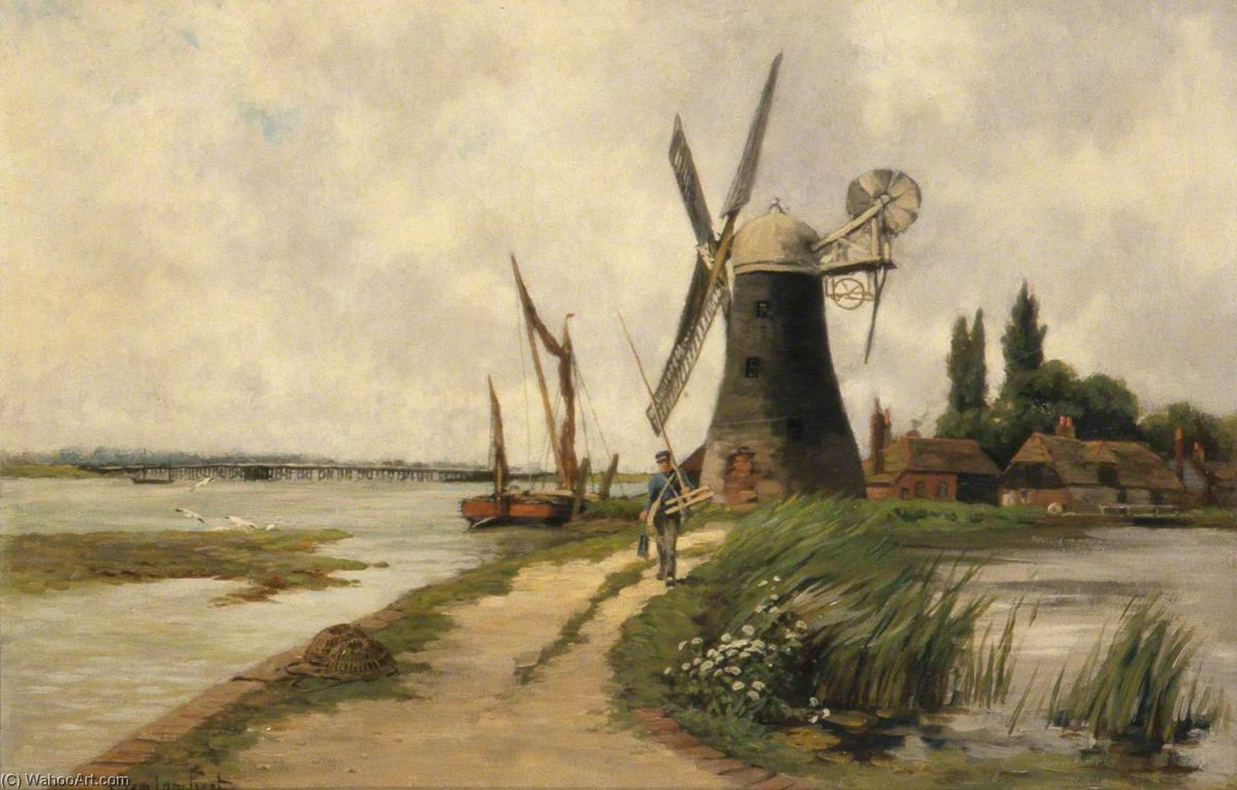 The Mill beside the Stream, Oil On Canvas by Clement Lambert