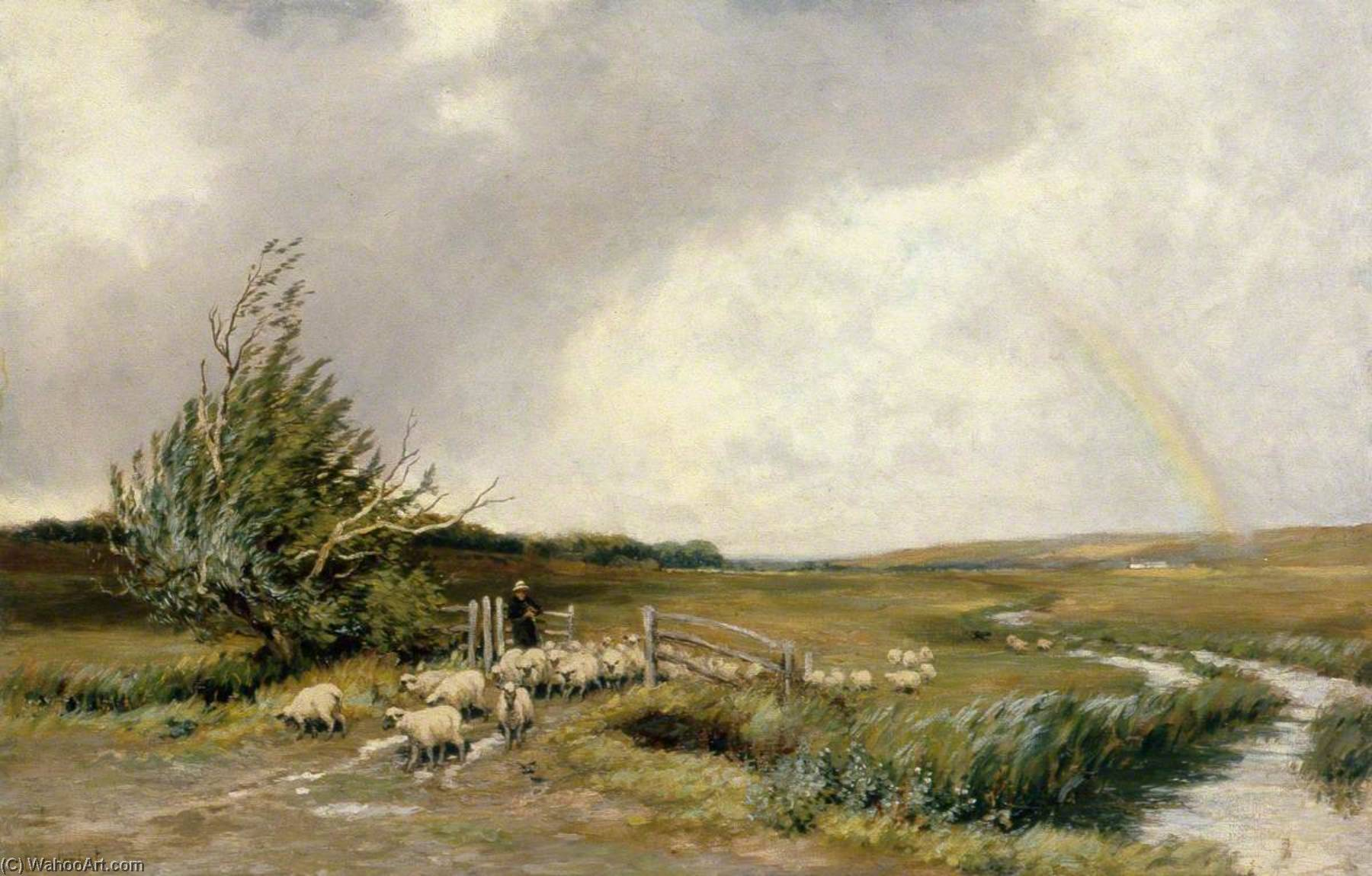 Landscape with a Rainbow and Sheep, Oil On Canvas by Clement Lambert