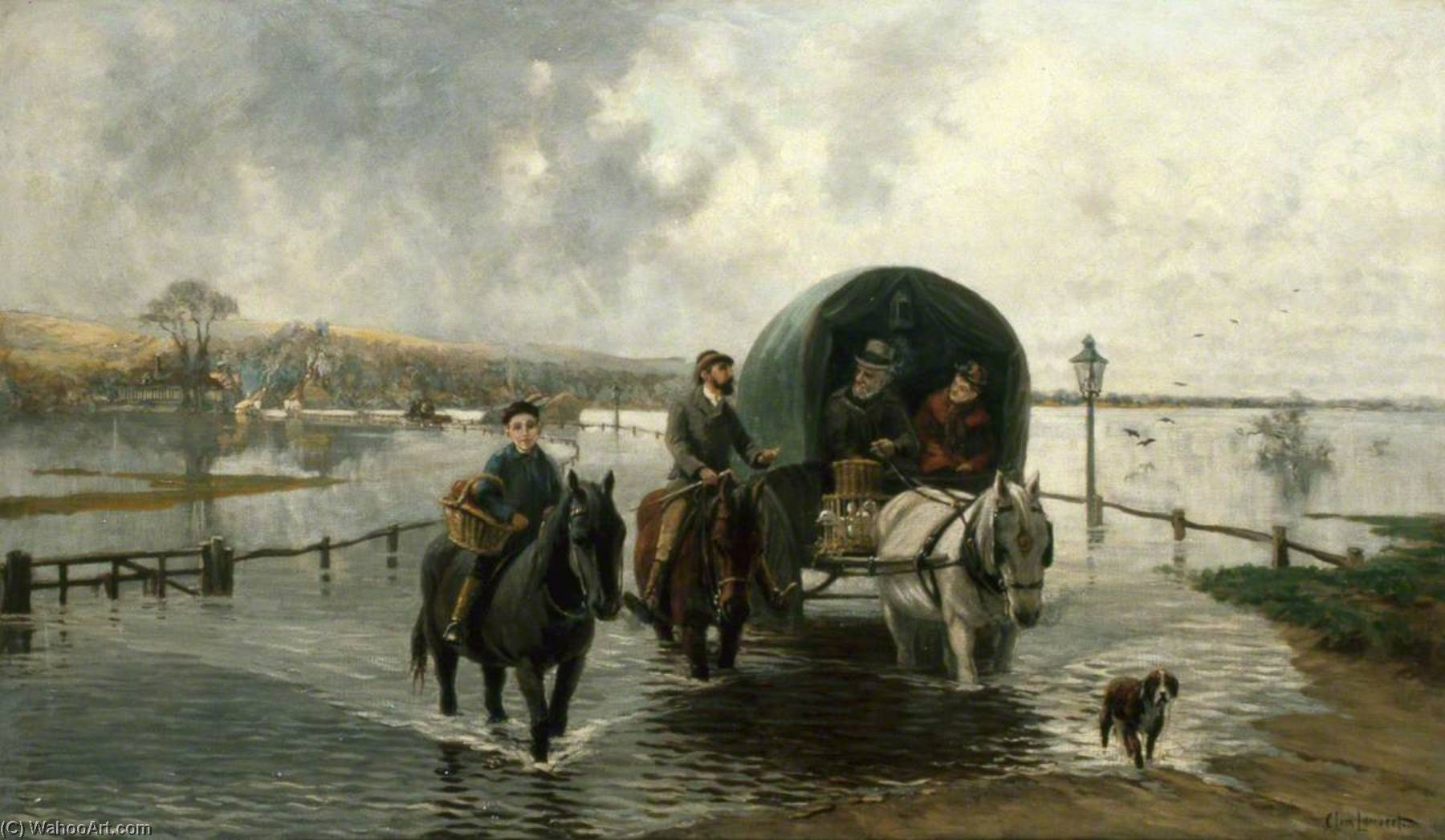Bramber Flooding, Oil On Canvas by Clement Lambert