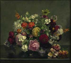 Gerard Chowne - Still Life A Bowl of mixed Flowers