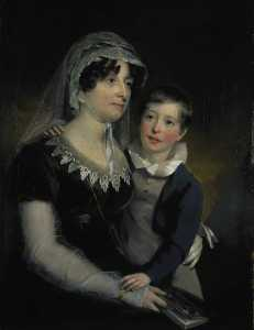 John Watson Gordon - Carolina Oliphant (1766–1845), Lady Nairne, Songwriter, with her Son William Murray Nairne (1808–1837), Later 6th Lord Nairne
