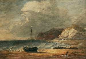 Joseph Clover - Beach and Fishing Boats, Rugged Cliffs Beyond