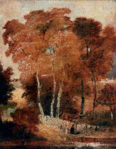 Joseph Clover - Landscape with Birches and a Pond