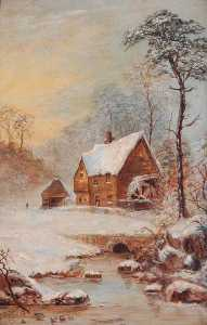 Frank Taylor - Snow Scene with Watermill