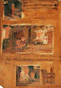 Joseph Clover - Three Interiors with Figures