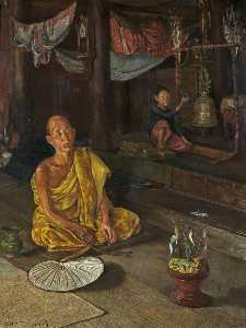 William Holt Yates Titcomb - A Burmese Priest The Call to Prayer