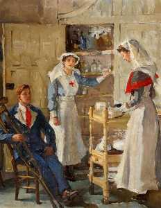 Marion Saumarez - Interior of Shrubland Park Hospital, Barham, Suffolk, Showing Staff and a Patient