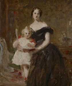 Daniel Macnee - Portrait Study of a Lady and a Child in an Interior