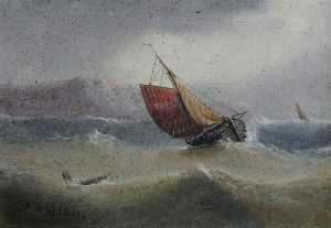 Edward King Redmore - Fishing Smack Offshore in a Rough Sea