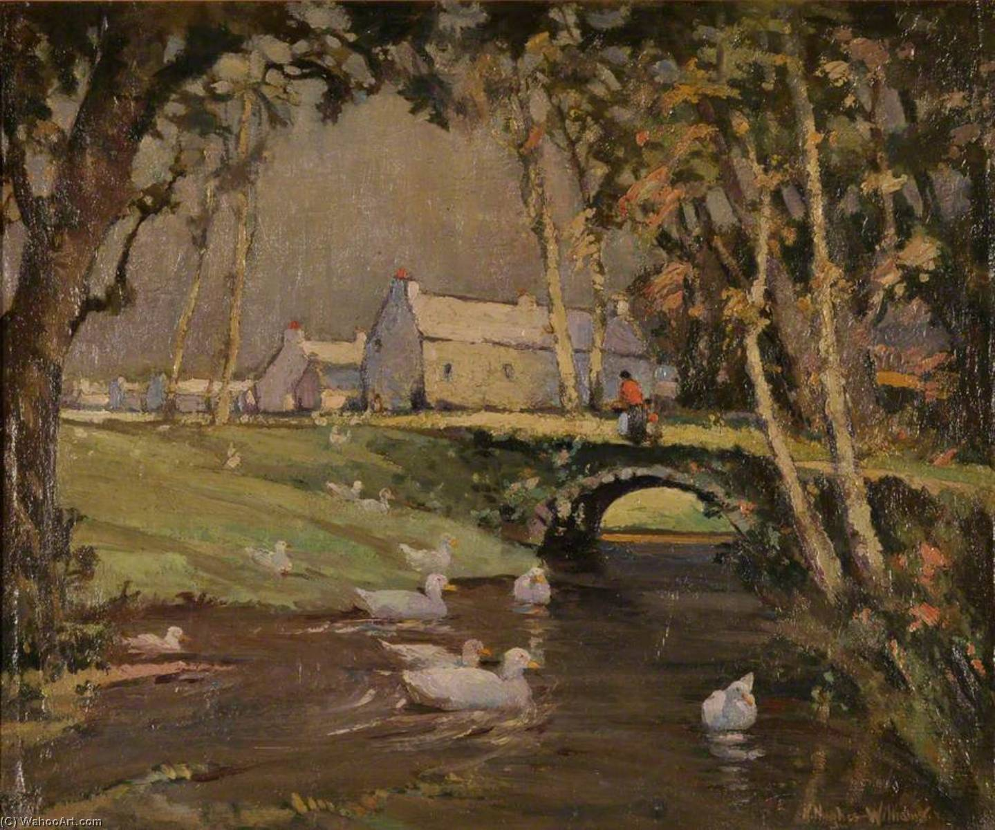 Pont Ty'n Coed, Pentre Berw, Oil On Canvas by Harry Hughes Williams