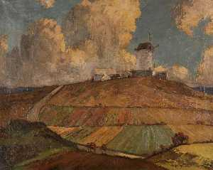 Order Painting Copy : Yr Ogof Windmill, 1942 by Harry Hughes Williams | WahooArt.com