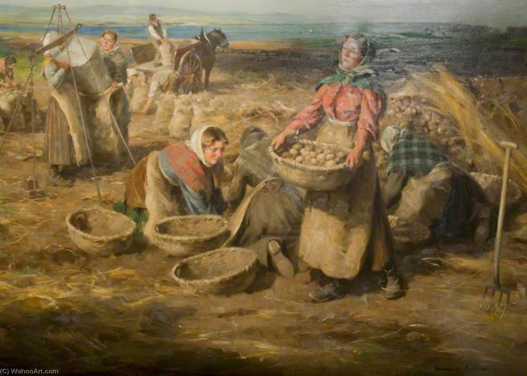 Waling Potatoes by William Marshall Brown | Paintings Reproductions William Marshall Brown | WahooArt.com