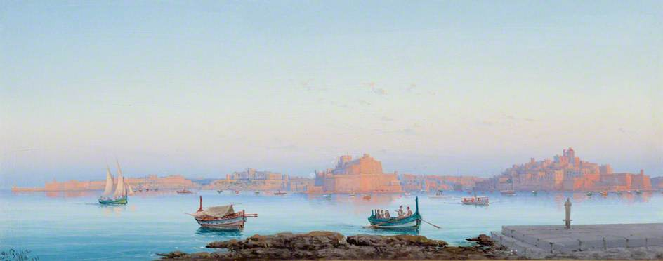 Grand Harbour, Malta, from Valletta, Oil by Luigi Galea