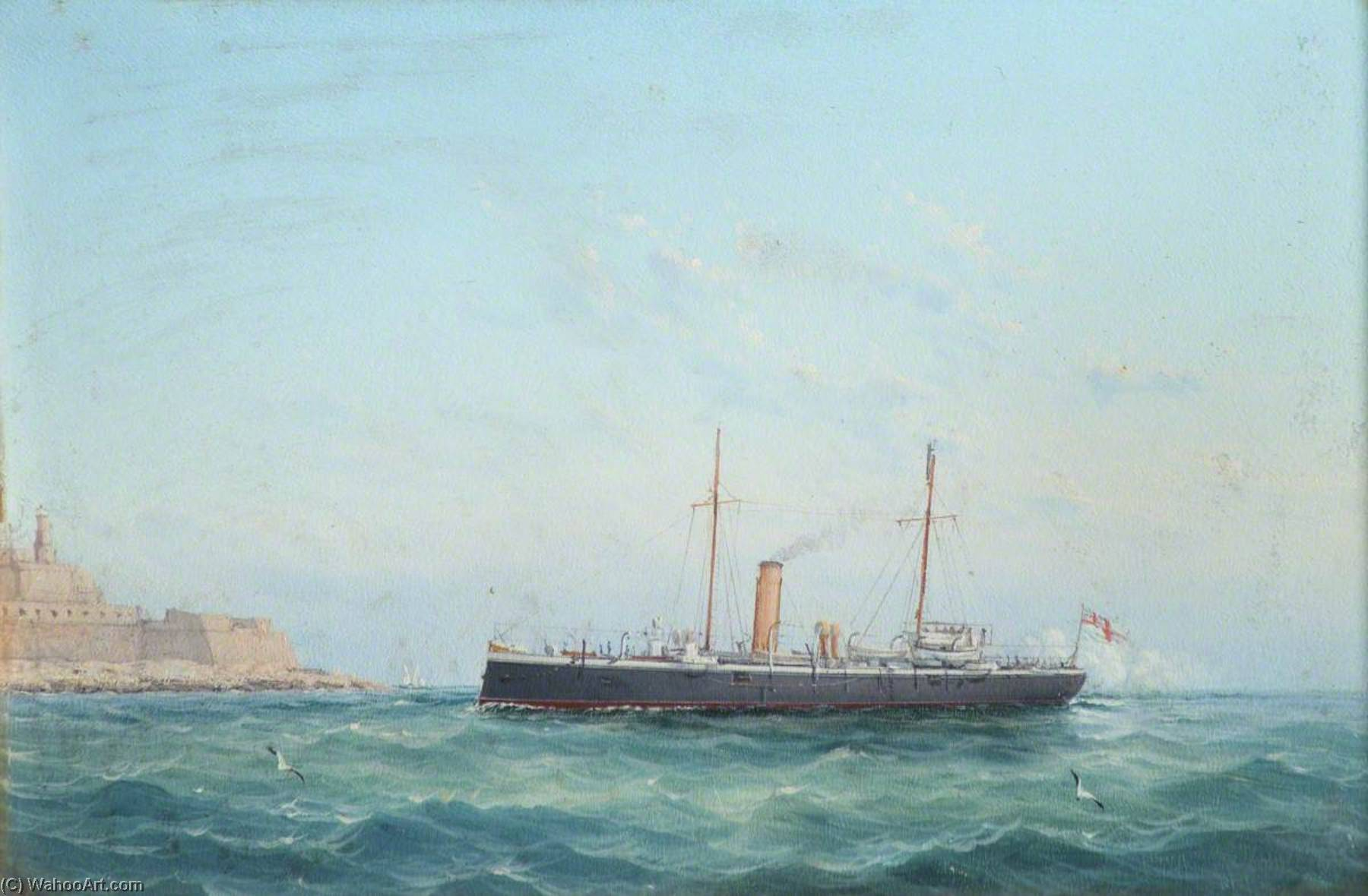The British Cruiser HMS `Fearless` by Luigi Galea | Oil Painting | WahooArt.com