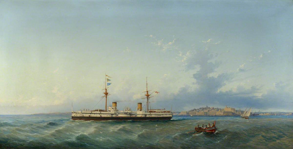 HMS 'Inflexible', Oil On Canvas by Luigi Galea