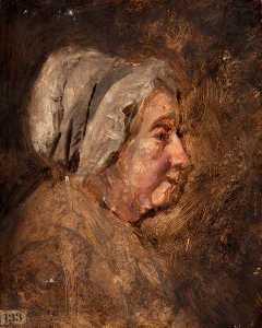 John Graham Gilbert - Head of an Old Woman with a Cap, in Profile to the Right