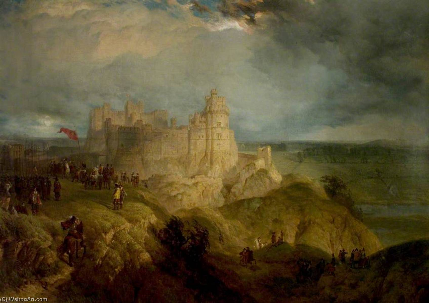 Nottingham Castle (King Charles I Raising His Standard, 24 August 1642), Oil On Canvas by Henry Thomas Dawson (1844-1878, United Kingdom)