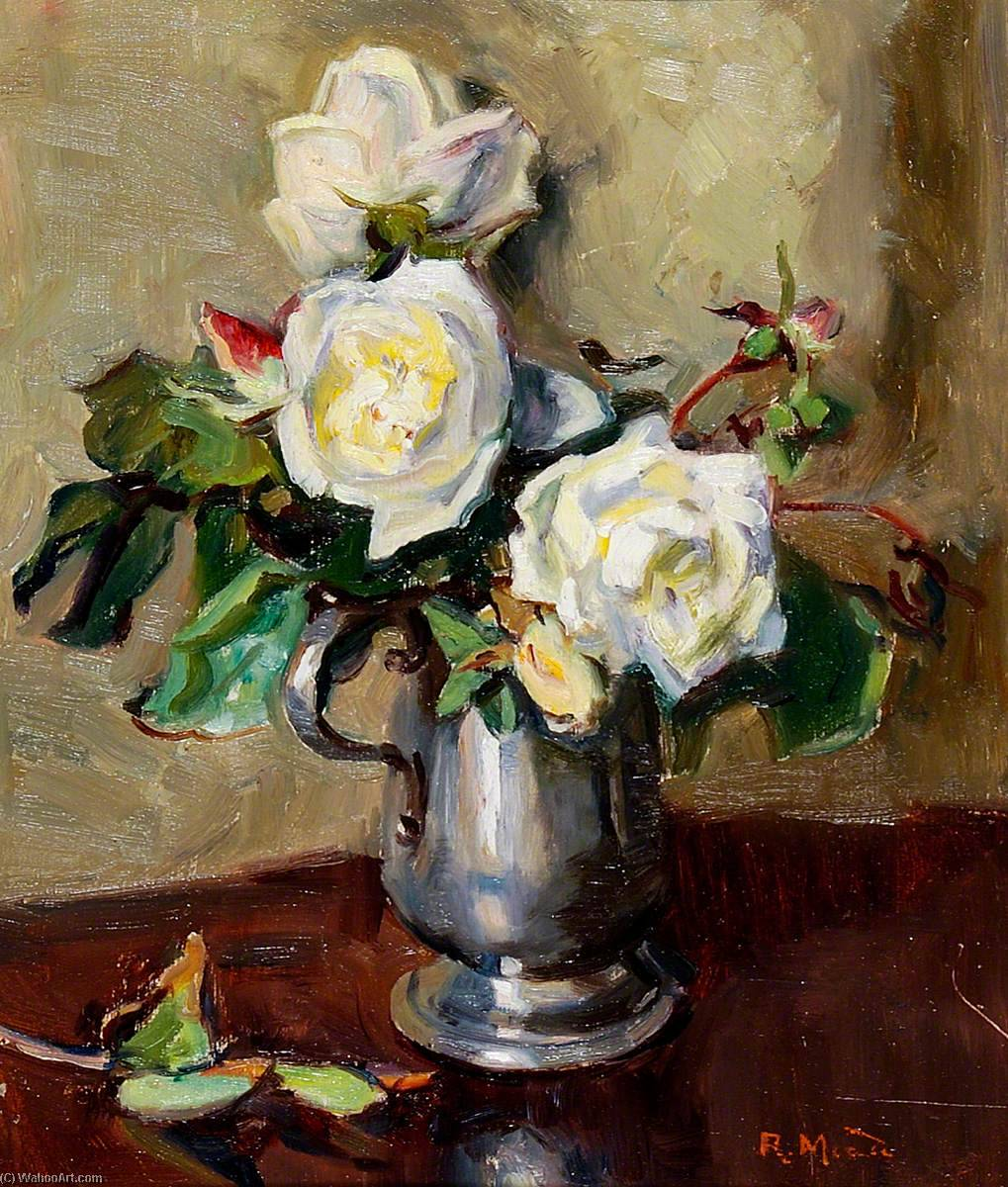 White Roses in a Pewter Mug, Oil by Rose Mead