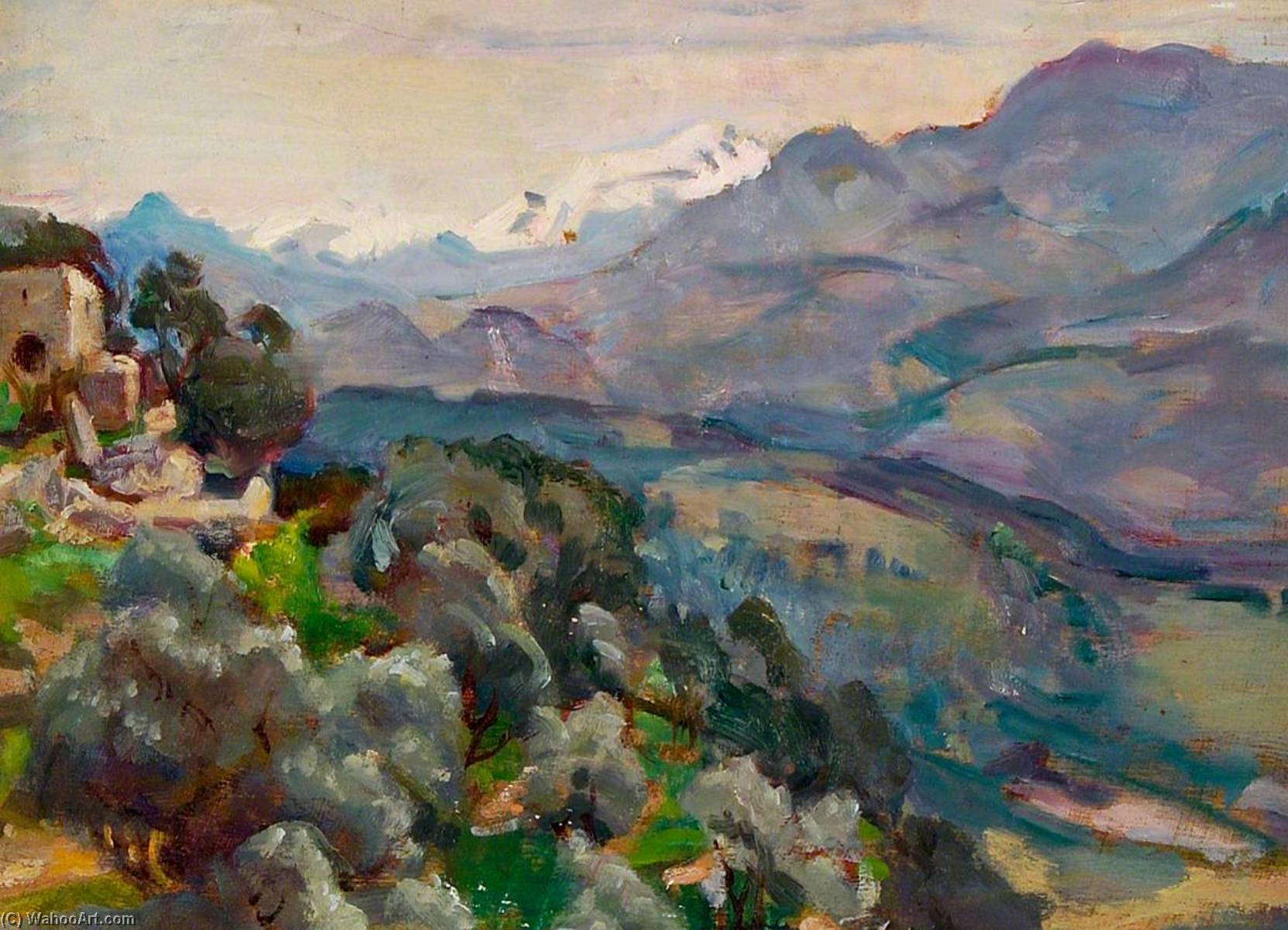 Mountainous Landscape and Stone Buildings, 1930 by Rose Mead | WahooArt.com