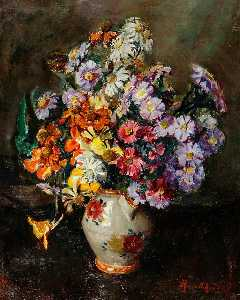 Rose Mead - Autumn Flowers in Flowered China Jug