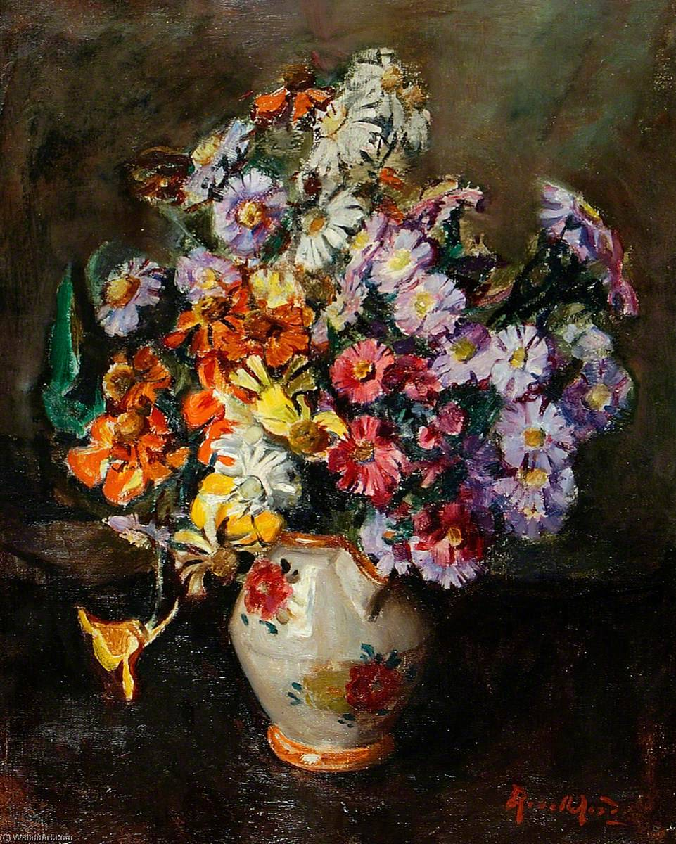 Autumn Flowers in Flowered China Jug, 1930 by Rose Mead | Painting Copy | WahooArt.com