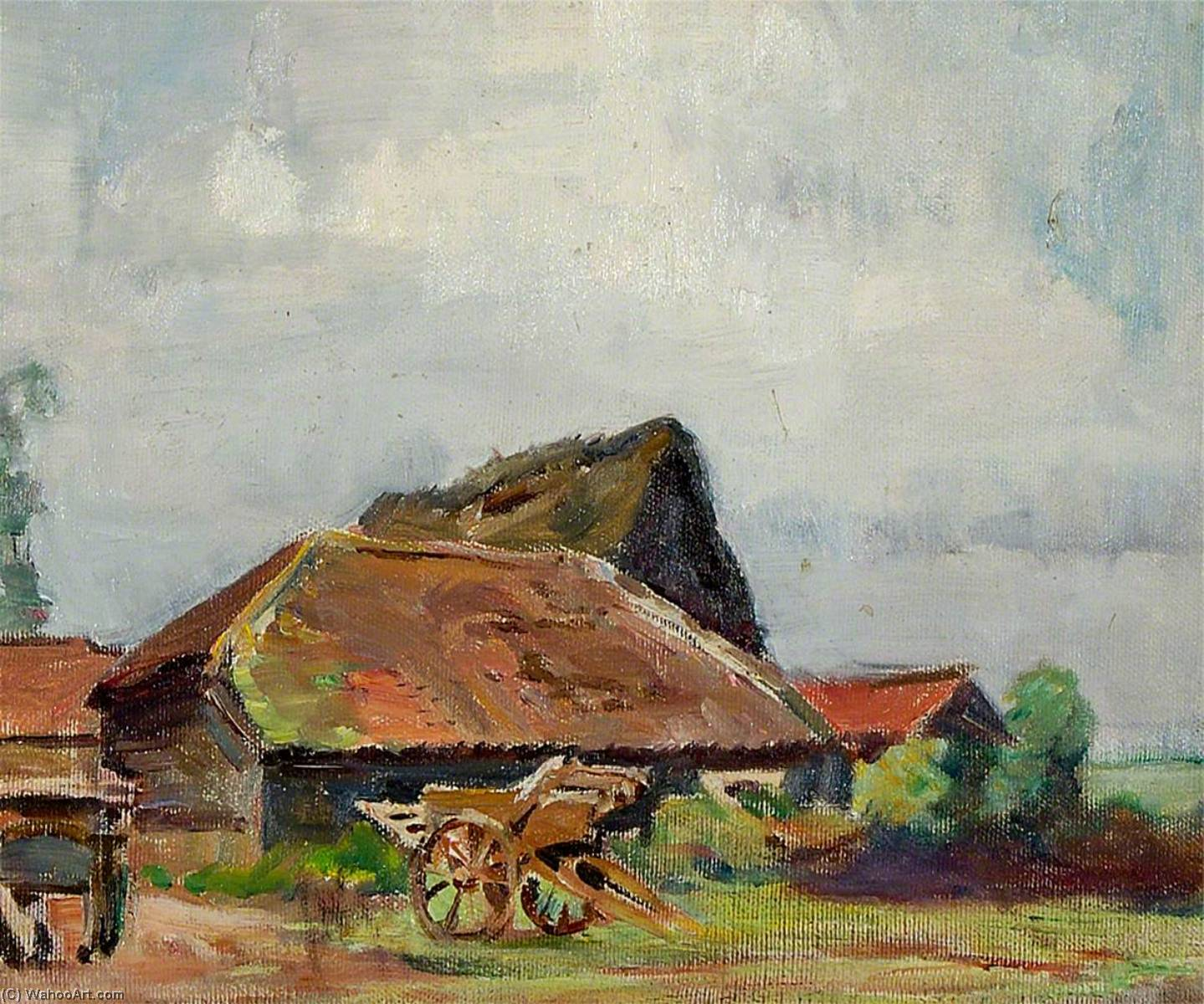 A Cart with Barns, 1930 by Rose Mead | WahooArt.com