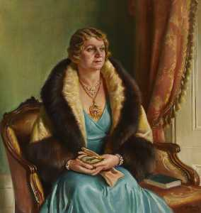 Order Museum Quality Reproductions : Mrs C. H. Curtis, Mayoress of Brentford and Chiswick Borough Council (1933–1934), 1934 by William Ramsden Brealey | WahooArt.com