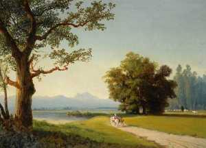 Joséphine Bowes - Landscape with Trees, a Mountain in the Distance