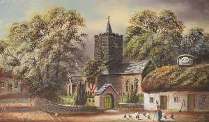 Alfred Worthington - Llanbadarn Church and the 'Black Lion'