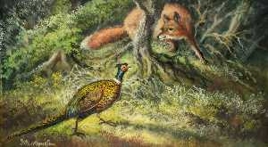 Alfred Worthington - Fox and Pheasant