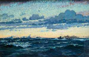 Geoffrey Stephen Allfree - Seascape with Convoy and Evening Sky Effect