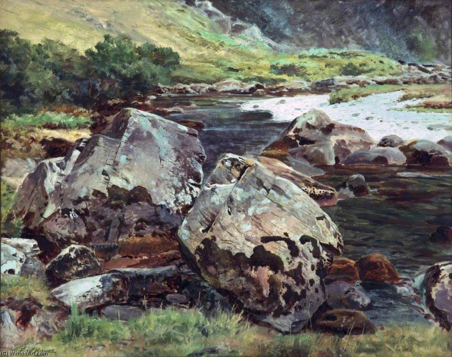 Boulders near Aberglaslyn, 1881 by Frederick William Hayes | Paintings Reproductions Frederick William Hayes | WahooArt.com