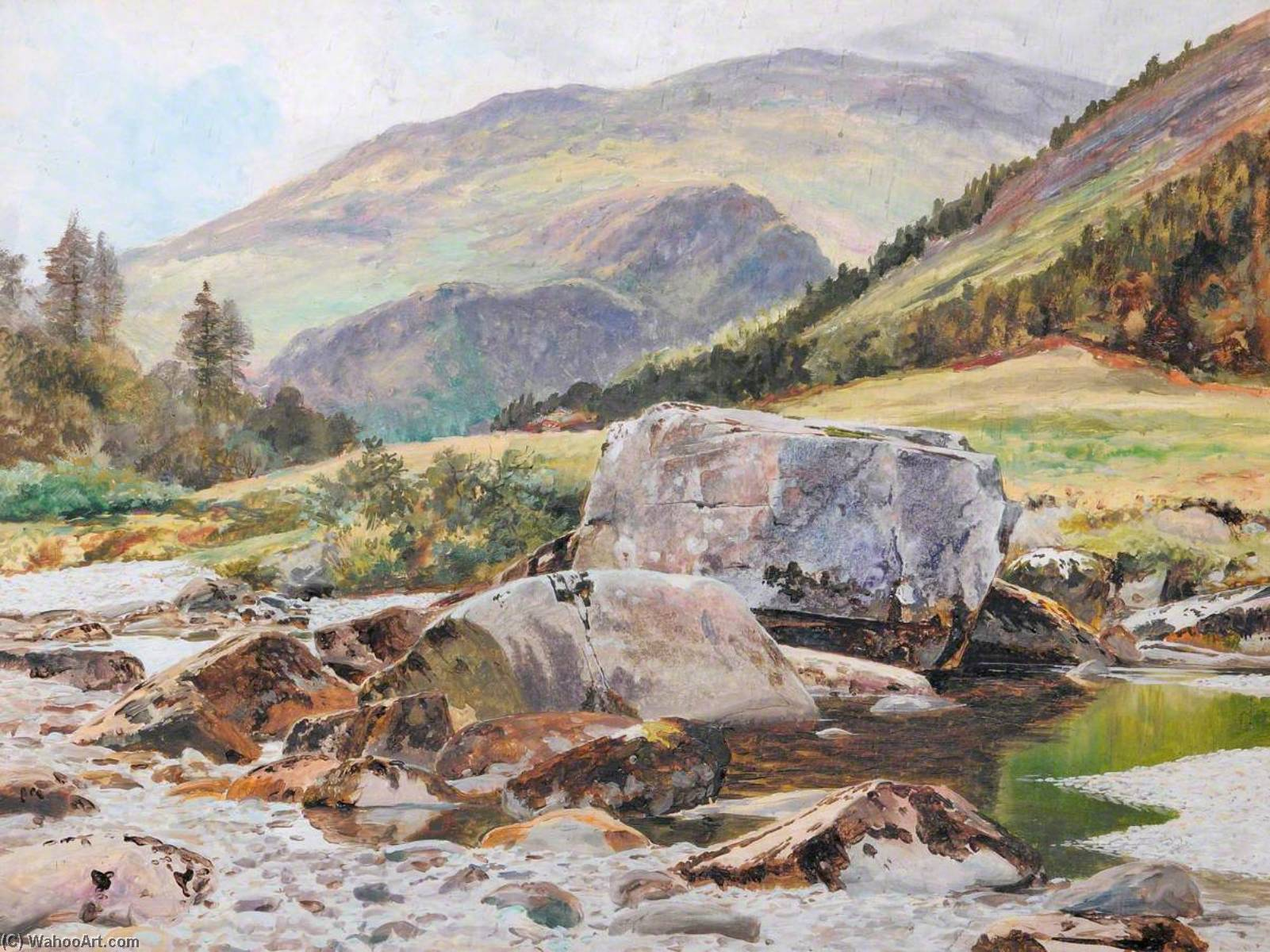 Order Reproductions | Rocks on the Glaslyn River, 1883 by Frederick William Hayes | WahooArt.com