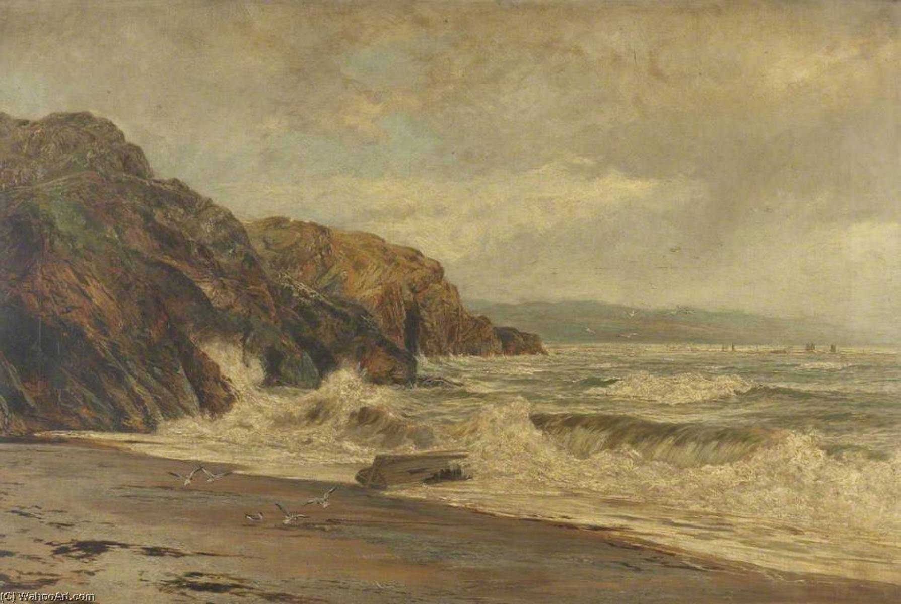 Order Art Reproductions | By the Sad Sea Waves, 1890 by Frederick William Hayes | WahooArt.com