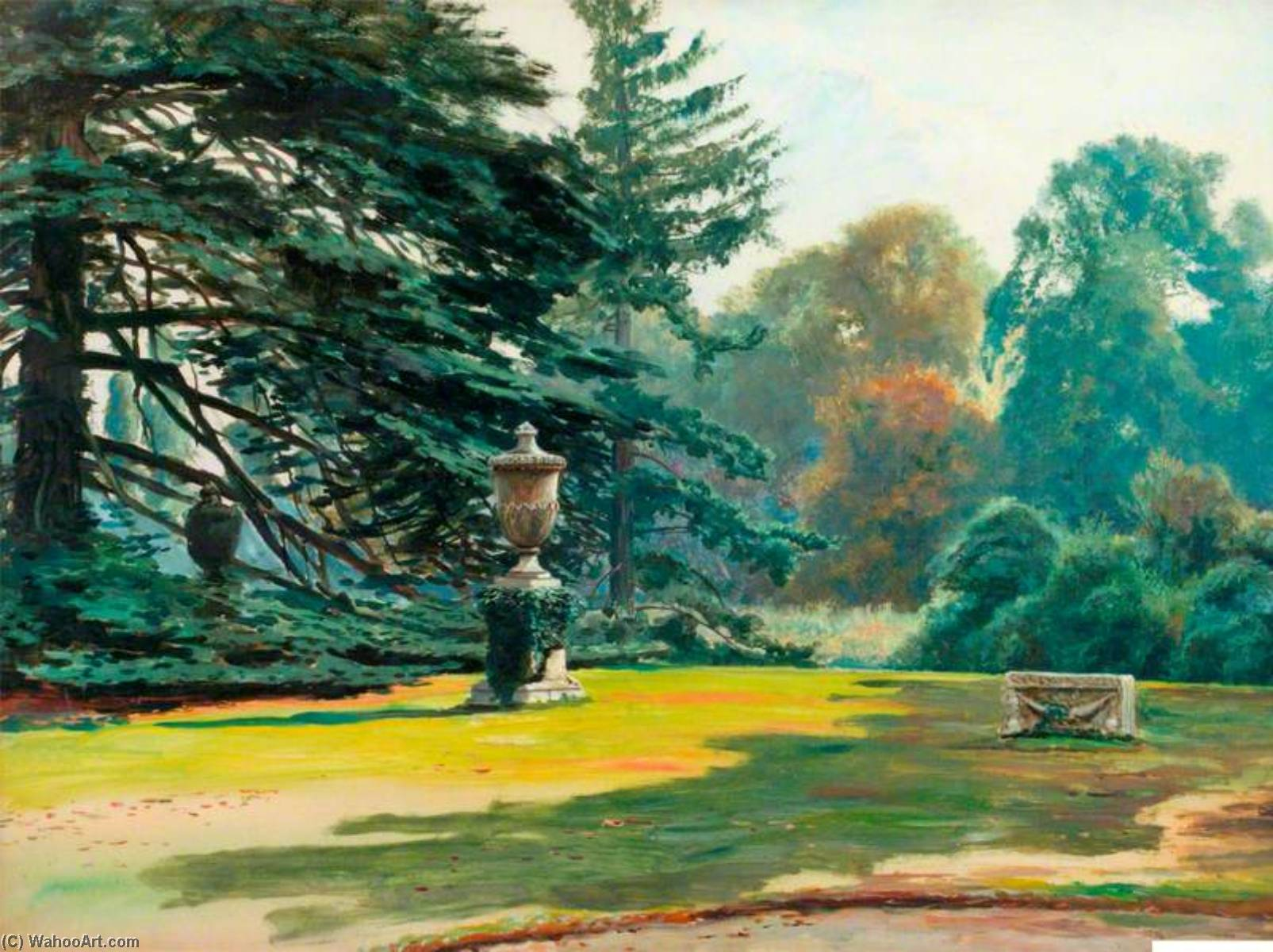 Study of Cedars at Chiswick House by Frederick William Hayes | Art Reproductions Frederick William Hayes | WahooArt.com