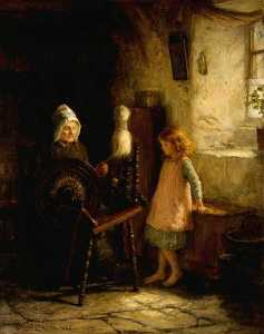 Order Art Reproductions | The Spinning Lesson, 1885 by Hugh Cameron Wilson | WahooArt.com