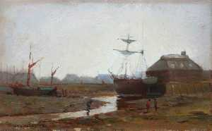 John Thomas Richardson - The Bar Pool and Boat Building Yard at Low Tide, Falmouth